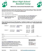 West High Baseball Camp