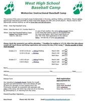 West High Baseball Camp